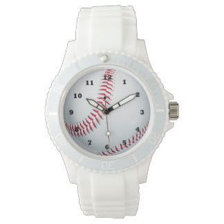 Baseball sports white silicone strap watch