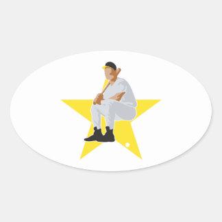 baseball star vector design oval sticker