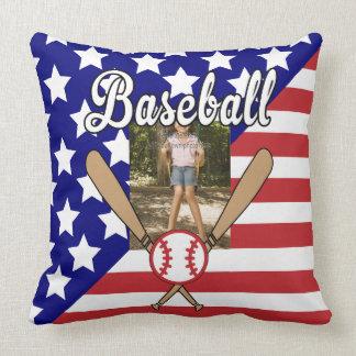 Baseball stars and stripes photo frame throw pillow