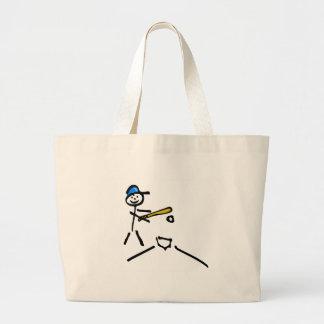 Baseball Stick Figure Large Tote Bag