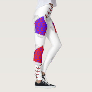 Baseball Stitches Blue and Red Leggings