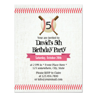 "Baseball Stitching Sport Themed 5th Birthday Party 4.25"" X 5.5"" Invitation Card"
