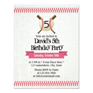 "Baseball Stitching Sport Themed 5th Birthday Party 4.25"" X 5.5"" Invitation Card"