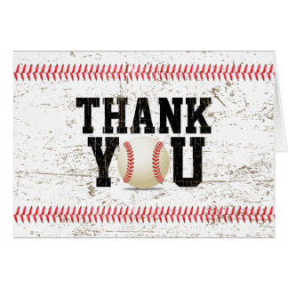 Baseball Stitching Sports Baby Shower Thank You Card