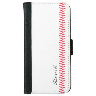 Baseball Stitching Sports Themed with Name iPhone 6 Wallet Case