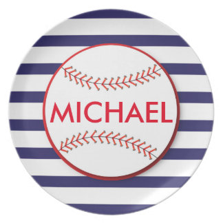 Baseball Stripes - Personalized Melamine Plate