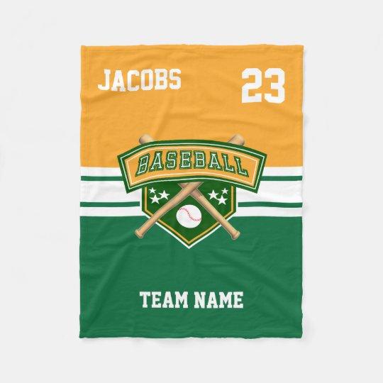 Baseball Symbol Team in Green, Gold & White Fleece Blanket
