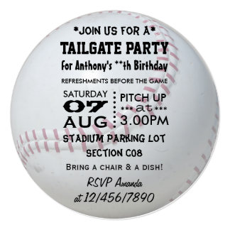 "Baseball Tailgate Party Personalized 5.25"" Square Invitation Card"