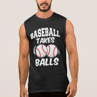 Baseball takes balls funny men's tank top