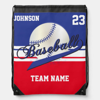 Baseball Team | Dark Blue, White, Red | DIY Text Drawstring Bag