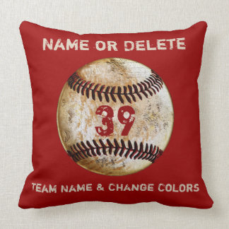 Baseball Team Gifts Personalized TEXT and COLORS Throw Pillow