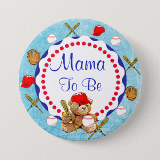 Baseball Teddy Bear Mama to be Baby Shower 3 Inch Round Button