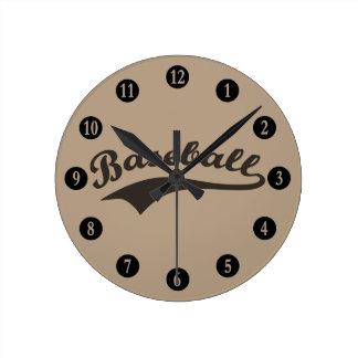 Baseball Text Round Clock