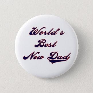 Baseball Text World's Best New Dad 2 Inch Round Button