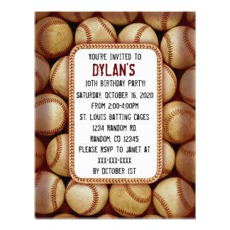 Baseball theme birthday party invitations full color flyer