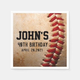 Baseball Theme Man's Birthday Personalized Napkin Disposable Napkin