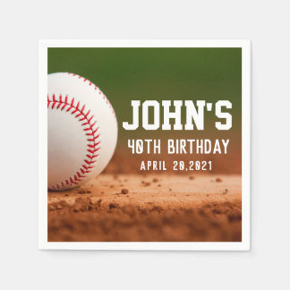 Baseball Theme Man's Birthday Personalized Napkin Disposable Napkins