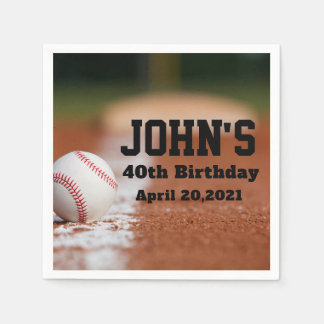 Baseball Theme Man's Birthday Personalized Napkin Paper Napkin