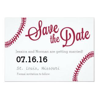 "Baseball theme Save the Date 5"" X 7"" Invitation Card"