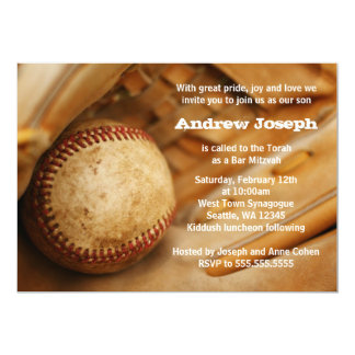 Baseball Themed Bar Mitzvah Invitations