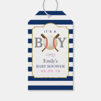 Baseball Themed Boy Navy Blue Stripes Baby Shower Pack Of Gift Tags