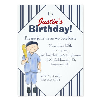 Baseball-Themed Boy's Birthday Party Invitation