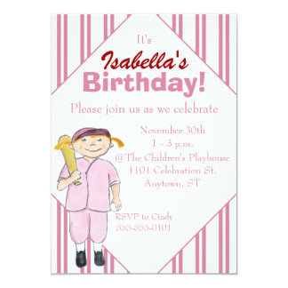Baseball-Themed Girl's Birthday Party Invitation