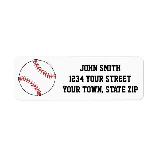 Baseball Themed Return Address Labels