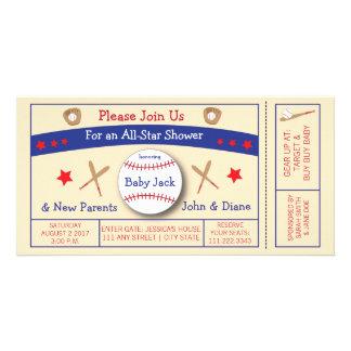 Baseball Ticket Baby Shower Invitation Customized Photo Card
