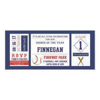 """Baseball Ticket Birthday Party Invitation 4"""" X 9.25"""" Invitation Card"""