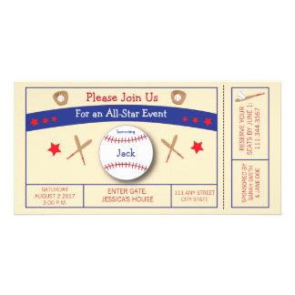Baseball Ticket Birthday Party Invitation Personalized Photo Card