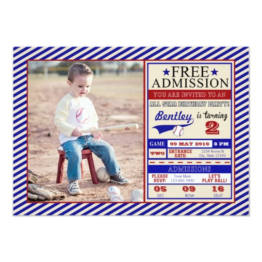 Baseball Ticket Photo Birthday Invitation