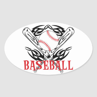 Baseball Tribal Oval Sticker