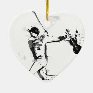 Baseball Violinist Ceramic Heart Ornament