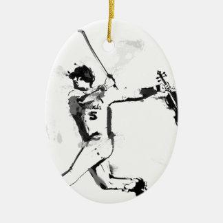Baseball Violinist Ceramic Oval Ornament