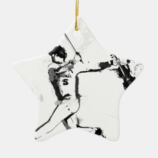 Baseball Violinist Ceramic Star Ornament