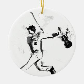 Baseball Violinist Round Ceramic Ornament