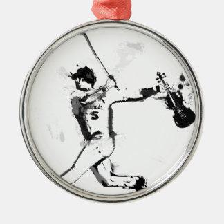 Baseball Violinist Silver-Colored Round Ornament