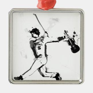Baseball Violinist Silver-Colored Square Ornament