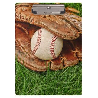 Baseball with an Old Mitt Clipboard