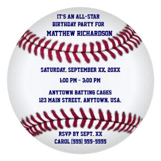 "Baseball With Blue Pinstripe Back 5.25"" Square Invitation Card"