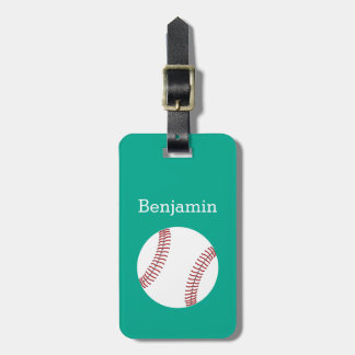 Baseball with Custom Name - Emerald Luggage Tag
