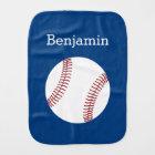 Baseball with Custom Name - Royal Blue Burp Cloth