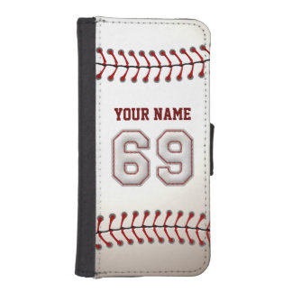 Baseball with Customizable Name Number 69 iPhone 5 Wallet