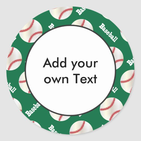 Baseball with Dark Green Background | Personalize Classic Round Sticker