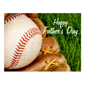 Baseball with Glove Happy Father's Day Postcard