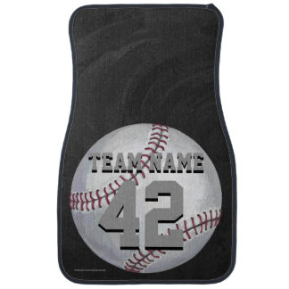 Baseball with Name and Number Car Mat