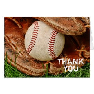 Baseball with Old Mitt Thank You Card
