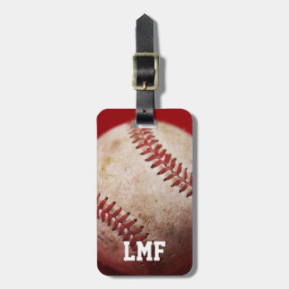 Baseball with Personalized Monogram Luggage Tag
