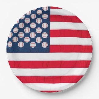 Baseballs & American Flag Paper Plate